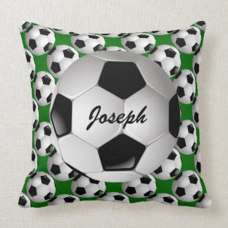 Personalized Soccer Ball on Football Pattern Cushion