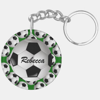 Personalized Soccer Ball on Football Pattern Double-Sided Round Acrylic Key Ring