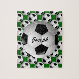 Personalized Soccer Ball on Football Pattern Jigsaw Puzzle