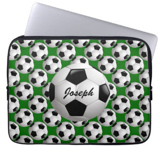 Personalized Soccer Ball on Football Pattern Laptop Sleeve