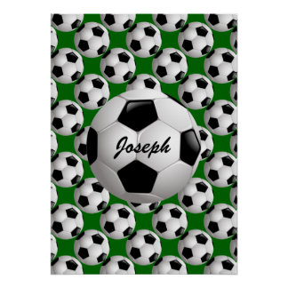 Personalized Soccer Ball on Football Pattern Poster