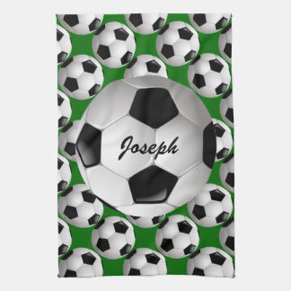 Personalized Soccer Ball on Football Pattern Tea Towel