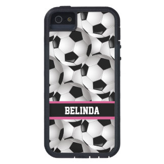 Personalized Soccer Ball Pattern Black Pink White Tough Xtreme iPhone 5 Case