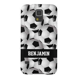 Personalized Soccer Ball Pattern Black White Galaxy S5 Cover