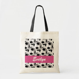 Personalized Soccer Ball Pattern Pink Canvas Bag