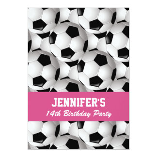 Personalized Soccer Ball Pattern Pink Birthday 13 Cm X 18 Cm Invitation Card