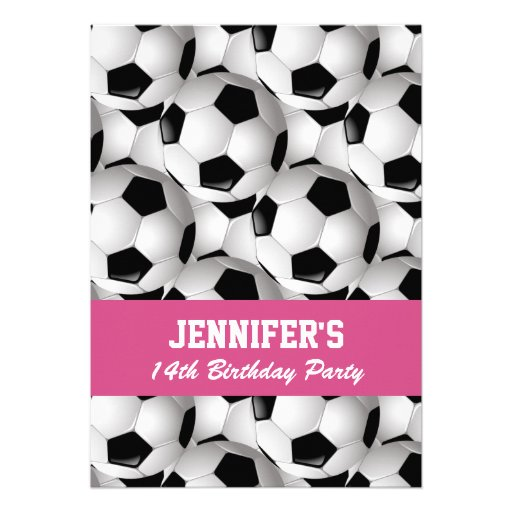 Personalized Soccer Ball Pattern Pink Birthday Personalized Announcement