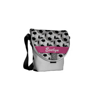 Personalized Soccer Ball Pattern Pink Courier Bags