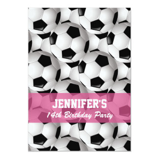 Personalized Soccer Ball Pattern v2 Pink Birthday 13 Cm X 18 Cm Invitation Card