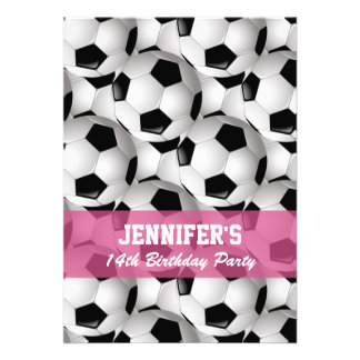 Personalized Soccer Ball Pattern v2 Pink Birthday Invite
