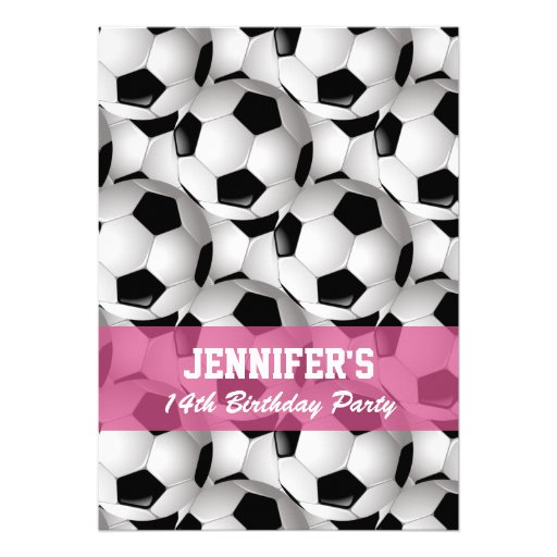 Personalized Soccer Ball Pattern v2 Pink Birthday Invite