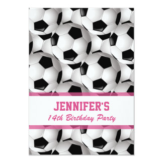 Personalized Soccer Ball Pattern v3 Pink Birthday 13 Cm X 18 Cm Invitation Card