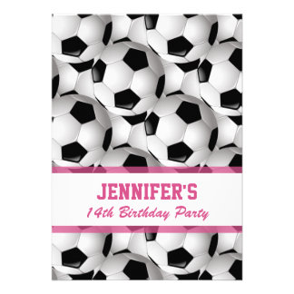 Personalized Soccer Ball Pattern v3 Pink Birthday Personalized Announcement