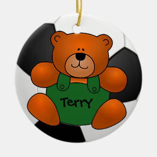 Personalized Soccer Ball Teddy Bear Ornament