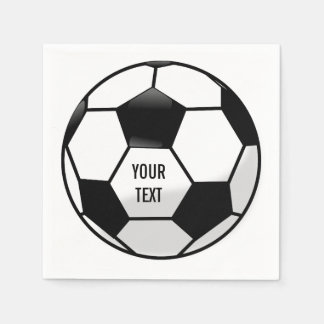 Personalized Soccer Ball with Custom Text Paper Napkin