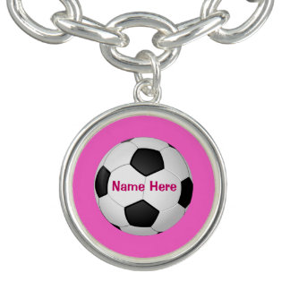 Personalized Soccer Charm Bracelet with NAME