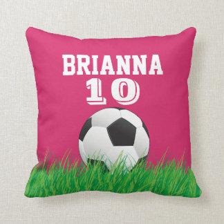 Personalized Soccer Football Ball Pink Pillow Throw Pillows