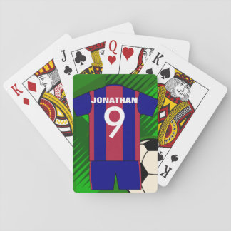 Personalized soccer jersey and ball playing cards