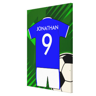 Personalized Soccer Jersey Blue and White Canvas Print