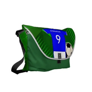Personalized Soccer Jersey Blue and White Commuter Bag