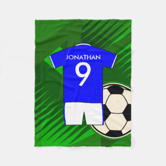 Personalized Soccer Jersey Blue and White Fleece Blanket
