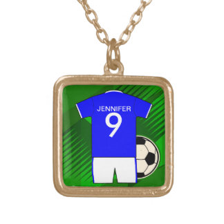 Personalized Soccer Jersey Blue and White Square Pendant Necklace