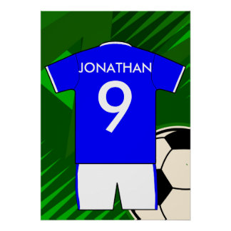 Personalized Soccer Jersey Blue and White Poster
