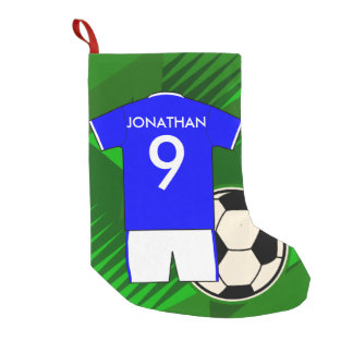 Personalized Soccer Jersey Blue and White Small Christmas Stocking