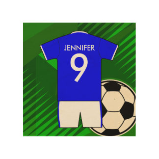 Personalized Soccer Jersey Blue and White Wood Canvases