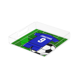 Personalized Soccer Jersey Blue with White Acrylic Tray