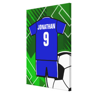 Personalized Soccer Jersey Blue with White Stretched Canvas Prints