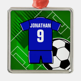 Personalized Soccer Jersey Blue with White Christmas Ornament