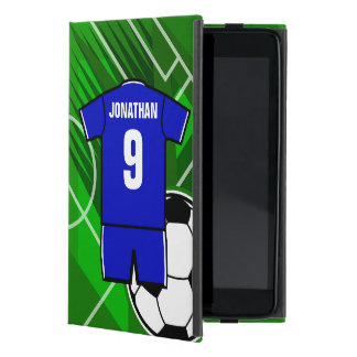 Personalized Soccer Jersey Blue with White iPad Mini Covers