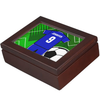 Personalized Soccer Jersey Blue with White Keepsake Box