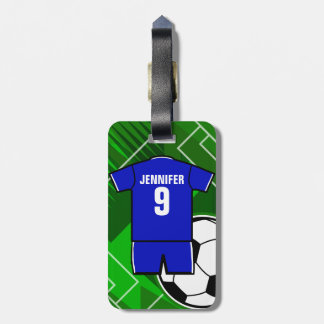 Personalized Soccer Jersey Blue with White Luggage Tag