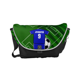 Personalized Soccer Jersey Blue with White Messenger Bags