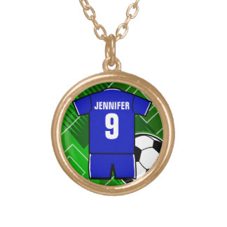 Personalized Soccer Jersey Blue with White Round Pendant Necklace