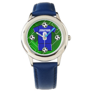 Personalized Soccer Jersey Blue with White Wristwatch