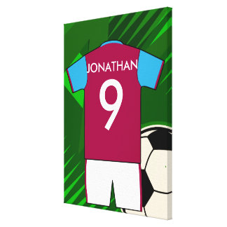 Personalized Soccer Jersey Claret and Blue Gallery Wrap Canvas