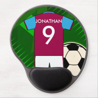 Personalized Soccer Jersey Claret and Blue Gel Mouse Pad