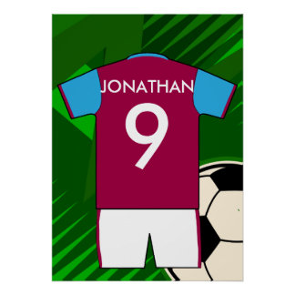Personalized Soccer Jersey Claret and Blue Poster