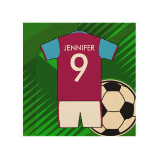 Personalized Soccer Jersey Claret and Blue Wood Prints