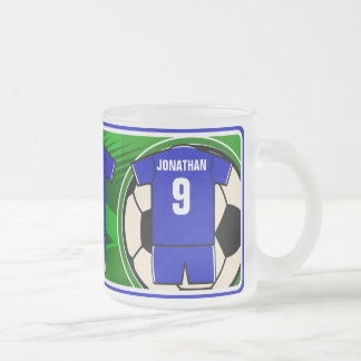 Personalized Soccer Jersey name and number blue Mugs
