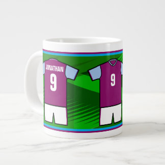 Personalized Soccer Jersey Name and Number CB Jumbo Mug