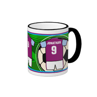 Personalized Soccer Jersey Name and Number CB Ringer Mug