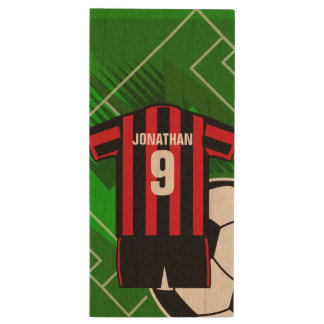 Personalized Soccer Jersey name and number rbst Wood USB 3.0 Flash Drive