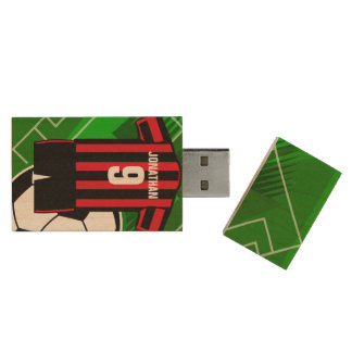Personalized Soccer Jersey name and number rbst Wood USB 2.0 Flash Drive