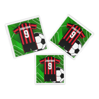Personalized Soccer Jersey Red and Black Stripes