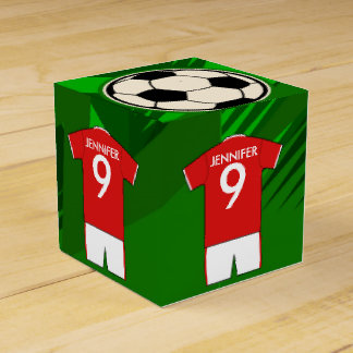 Personalized Soccer Jersey Red and White Favour Box
