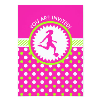 Personalized Soccer Pink - Green Polka-Dots Card